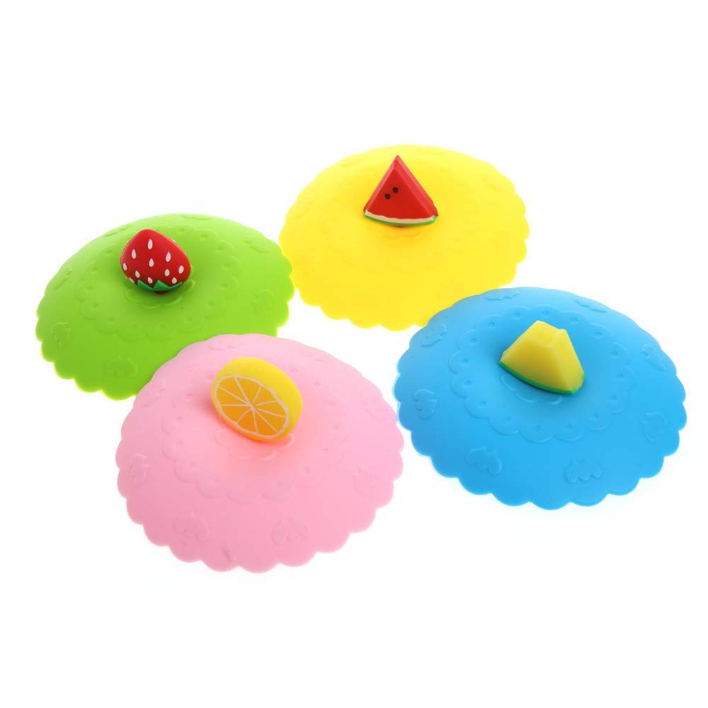 4Pcs Cute Fruit Silicone Cup Cover Dustproof Cap Leakproof Airtight Sealed Lid for Coffee Tea Drinking Cup Wendy Cai