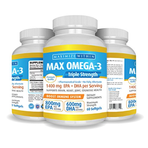 (Max Omega 3 Fish Oil Pills - Triple Strength Fish Oil Supplement (2000 mg Total Omega 3 Fatty Acids: 600mg DHA + 800 mg EPA per Serving))