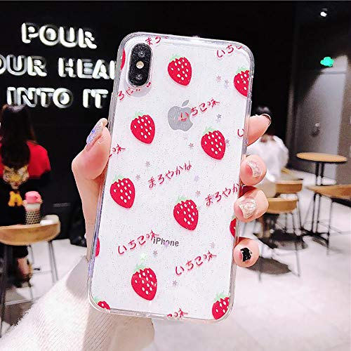 iPhone 8 iPhone 7 Phone Case, Apple iPhone8 iPhone7 Cover for Women Girl, Strawberry Clear Design Plastic Transparent Hard Holder with TPU Bumper - Strawberry Cell Phone Case