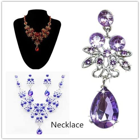 Womens Mixed Style Bohemia color Bib Chain Necklace Earrings Jewelry