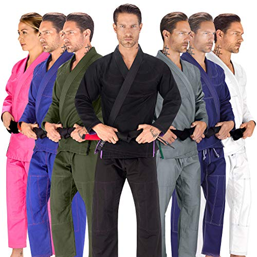 Elite Sports BJJ GI for Men IBJJF Kimono BJJ Jiu Jitsu Lightweight GIS W/Preshrunk Fabric & Free Belt (Black, A2)