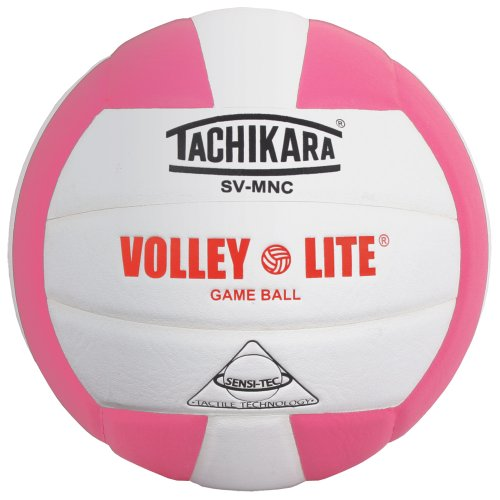 Tachikara Volley-Lite lightweight Composite VolleyBall for 12 and under Players, Pink-White