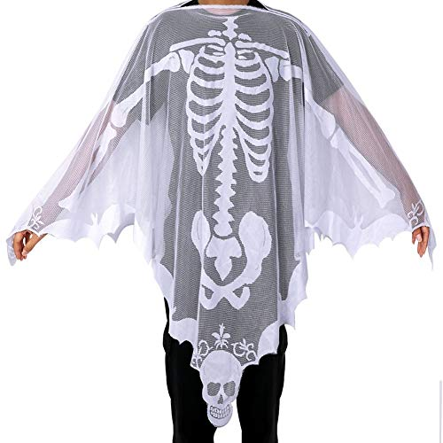 Aytai White Lace Skeleton Poncho Halloween Costumes for Women, Day of The Dead Costume, Poncho Costume 60 x 60 ()