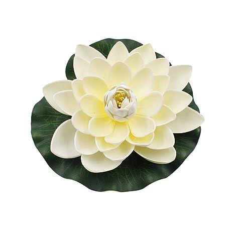 display08 Flor de Loto Artificial, Flotante de Agua de Lirio para jardín, Estanque,