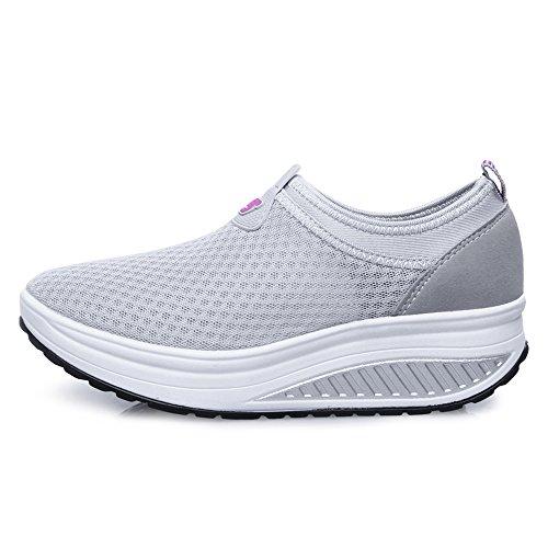 809 EnllerviiD On Grey Mesh Shoes Women Fitness Slip Sneakers Up Walking Shape Platform Toning 7TSRw7xq