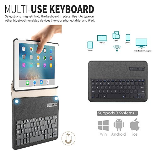 New iPad 9.7 2018 2017/iPad Pro 9.7/iPad Air 2/ iPad Air 1 Keyboard Case,Boriyuan 360 Degree Rotating Stand PU Leather Smart Cover with Detachable Wireless Bluetooth Keyboard for iPad 9.7 inch- Black by Boriyuan (Image #4)
