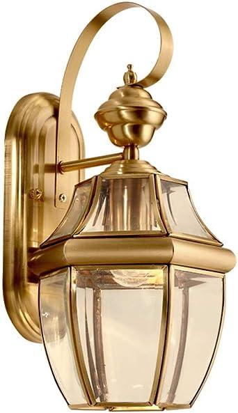 Aplique de jardín de hierro dorado,E27 Tradicional lámpara exterior farol colgante de pared en aluminio dorado pulido y cristal - acabado en crema brillante (Color : Gold-B): Amazon.es: Iluminación