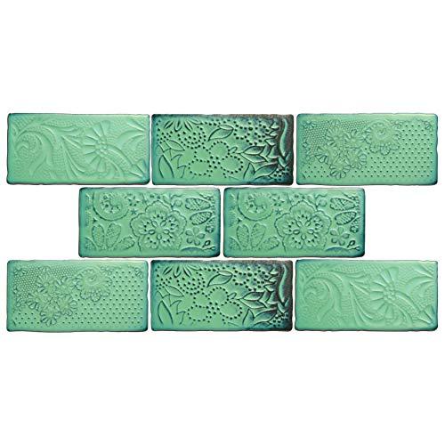 Verde Glaze Ceramic - SomerTile WCVAFL  Antic Feelings Lava Verde Ceramic Wall Tile,3-inch x 6-inch Pack of 8