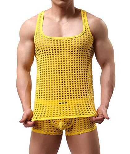 Mendove Men's Mesh See Through Muscle Fishnet Tank Top Underwear Size X-Large Yellow