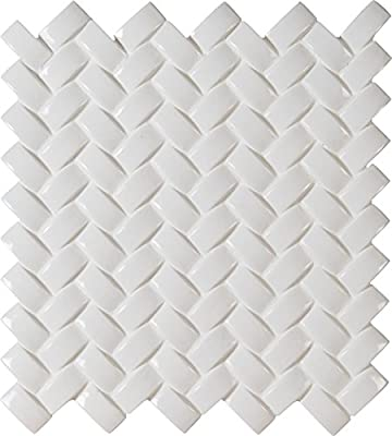 Whisper White Arched Herringbone 12 In. X 8 mm Glazed Ceramic Mesh-Mounted Mosaic Wall Tile, (10 sq. ft., 10 pieces per case)