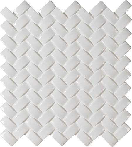 M S International Whisper White Arched Herringbone 12 In. X 8 mm Glazed Ceramic Mesh-Mounted Mosaic Wall Tile, (10 sq. ft., 10 pieces per case) - White Glazed Ceramic Tile