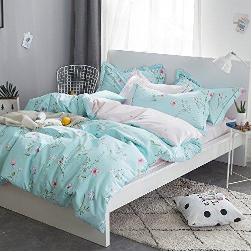 OTOB Floral Bedding Duvet Cover Queen Set for Teen Kids Girl Flower Print Bedding Sets Full Size Cotton 100 Blue, Reversible Lightweight Soft by OTOB (Image #6)