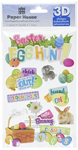 Paper House Productions STDM-0176E 3D Cardstock Stickers, Easter Egg Hunt (3-Pack) (Easter Phrases)
