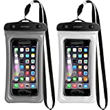 Floating Universal Waterproof Case,FITFORT IPX8 Waterproof Phone Pouch Fingerprints Available TPU Clear Dry Bag for iPhone X 8 7 6 Plus Samsung Galaxy Google Pixel HTC LG Sony (2-Pack)-Black&Crystal