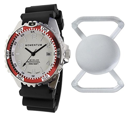New St. Moritz Momentum M1 Splash Dive Watch with Red Bezel, Black Hyper Rubber Band & FREE Watch Protector (Valued at $12.95) for Added Protection to the Glass Face of Your Dive Watch (Fossil Athletic Watch)