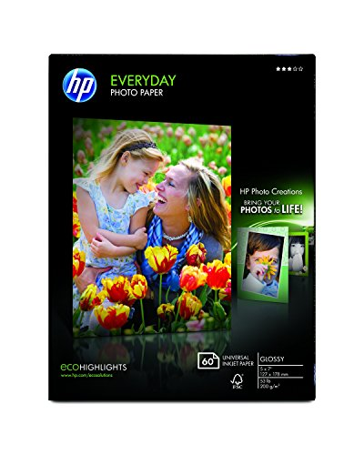 (HP Photo Paper, Everyday Glossy, (5x7 inch), 60 sheets)