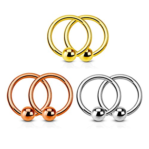 Fifth Cue 3 Pair Set Annealed 316L Surgical Steel Captive Bead Rings. Polished, Gold IP and Rose Gold IP Value Pack - Choose Size (16G | 3/8