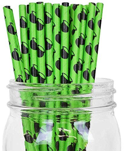 Witches Cauldron Design Set of 100 Count Size 7 3/4 inch Halloween Paper Drinking Straw Baking Sticks Cake Pop Sticks For Cake Pops, Lollipops, Crafts, Cupcake Toppers, Rock Candy and Brownie Pops