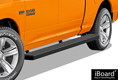 APS iBoard Running Boards (Nerf Bars | Side Steps | Step Bars) for 2009-2018 Ram 1500 Crew Cab Pickup 5.5ft Short Bed & 2010-2019 Ram 2500/3500 | (Black Powder Coated 6 inches Wheel to Wheel)