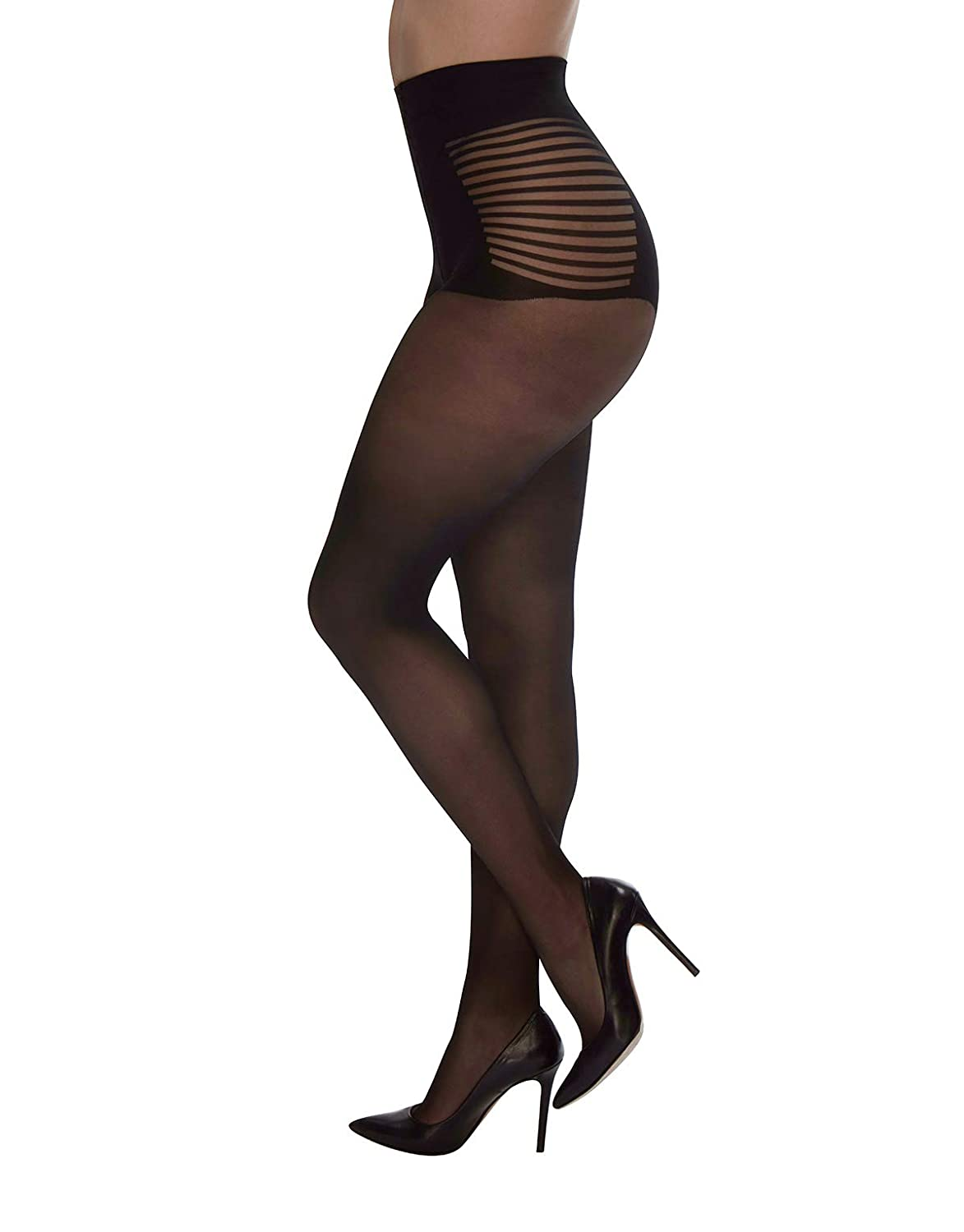 PLUS SIZE BLACK SHEER PANTYHOSE WITH STRIPED BRIEF | SEXY CURVY LADIES | 20  DEN | L, XL, XXL | ITALIAN HOSIERY | at Amazon Women's Clothing store: