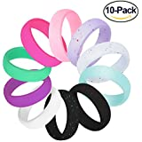 Fynix Silicone Wedding Ring for Women, 10 Pack Premium Medical Grade Wedding Bands Thin and Stackable Durable Comfortable Antibacterial Rubber Rings, Black White Pink Silver