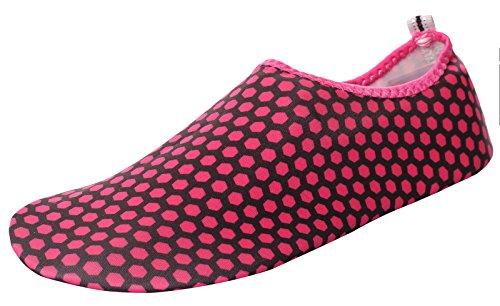 Caihee Femmes Et Hommes Léger Séchage Rapide Slip Sur Leau Chaussures Aqua Pieds Nus Peau Chaussures Red4