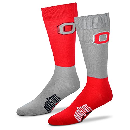 (For Bare Feet NCAA 4-Square Mismatch Socks-Size Large (10-13)-Ohio State Buckeyes)