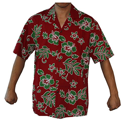 Hibiscus Collection (Made In Hawaii! Men's Hibiscus Flower Christmas Classic Hawaiian Shirt Collection (XL, Red/Green))