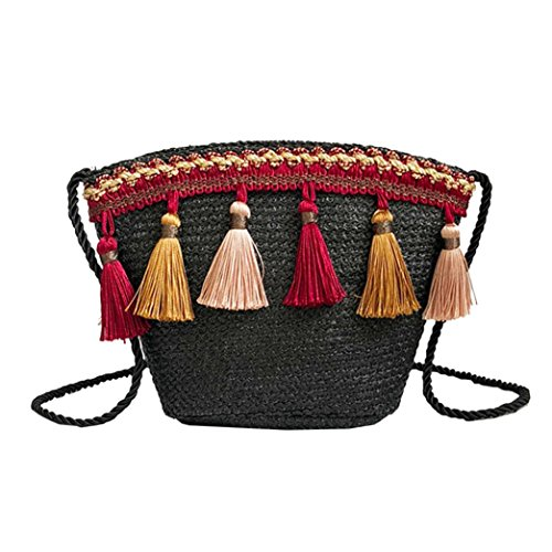 Summer Bag Corssbody Shybuy Beach Crochet with Women's Black Shoulder Bags Messenger Tassel Purse Straw wqwInf4R