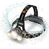 ONE DAY SALE!! Brightest and Best LED Headlamp 6000 Lumen flashlight- IMPROVED LED, Rechargeable 18650 headlight flashlights Waterproof Hard Hat Light, Bright Head Lights, Running or Camping headlamps