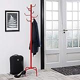 FurnitureR Perchero de pie Resistente, Pasillo de Entrada del árbol de Metal Perchero en Base de Metal para Abrigo, Chaqueta, Sombrero, Ropa, Bolso, Bufandas, Bolsos, Paraguas- (8 Ganchos, Rojo)