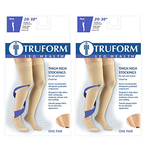 (Truform Compression 20-30 mmHg Thigh High Dot Top Stockings Black, X-Large, 2 Count)
