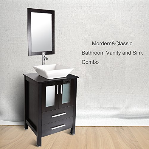 Elecwish USBA20104 B+89 Bathroom Vanity And Sink Combo Stand Cabinet With  Mirror Square Ceramic Vessel Sink With Faucet And Pop Up Drain, 24u0027u0027 L, ...