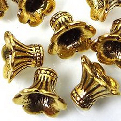 Burts Beads - 20 Antique Golden Pewter Petal Bell Flowers Caps Beads Lead-Free 8x10mm NJOY12911 - Cap Only Antique