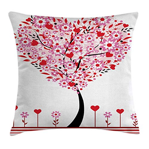 Ambesonne Valentine Throw Pillow Cushion Cover, Heart Shaped Tree Daisies Wildflowers Red Leaves Forest Romance Season Image, Decorative Square Accent Pillow Case, 24 X 24 Inches, Multicolor