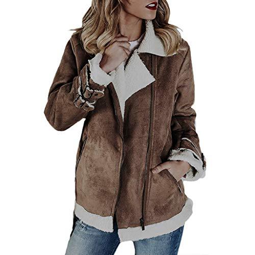Creazrise Winter Women Faux Fur Fleece Coat Outwear Warm Lapel Biker Motor Aviator Jacket Suede Coat Pockets (Khaki,2XL)