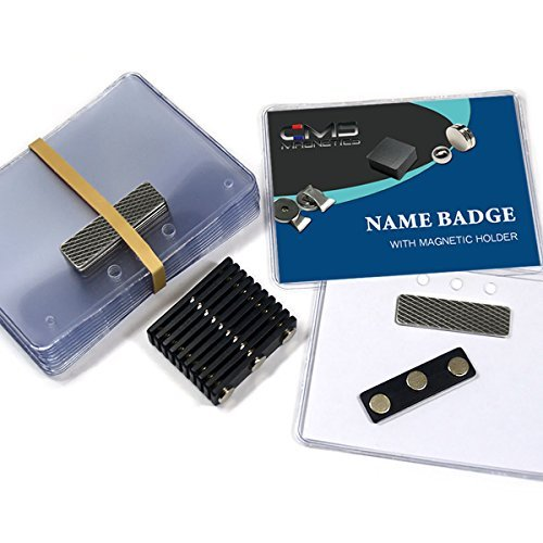 (24 Sets of DIY Magnetic Name Badges w/CMS Magnetics 3Mag-1 Badge Magnets - Top Loading Premium Plastic Badge Holders (3