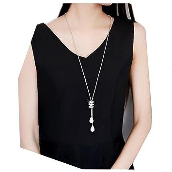 21a6427450b8 Sannysis Collares Largos Mujer, Collar Mujer Plata Estrella Blanco  Brillante con para Regalos Originales Charm Crystal Pearls Colgante Collar  Largo ...