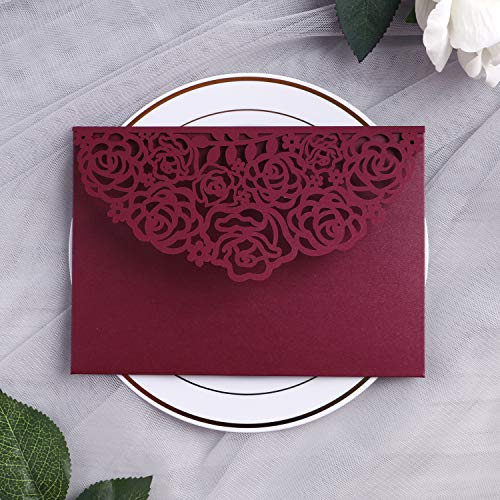 YIMIL 20 Pcs 5 x 7 inch Tri-fold Laser Cut Wedding Invitation Pocket for Wedding Quinceanera Bridal Shower Baby Shower Party Invite (Burgundy)