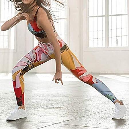 Dastrues 2 Pcs Printed Backless Yoga Wear Set Sports Bra ...