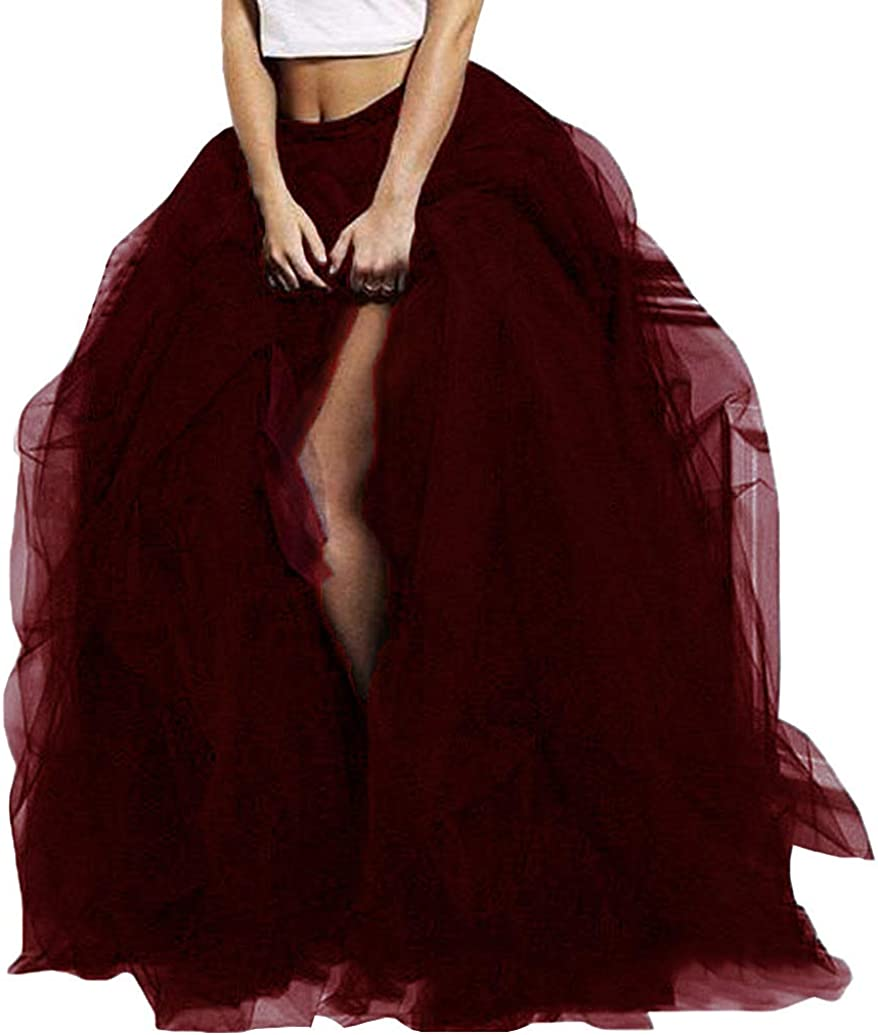 WDPL Wedding Planning Women's Long Maxi Tulle Special Occasion Bustle Night Out Skirt