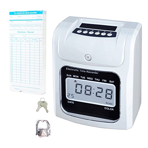 NATAMO Time Clock Bundle with 50-Card & Ribbon Cartridge, Electric Time Recorder Time Card Machine Time Attendance Punch Clock-for Employees,Small Business,Company, Hospital, School, Factory ...