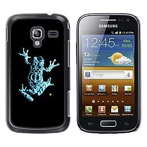 TopCaseStore / la caja del caucho duro de la cubierta de protección de la piel - Neon Blue Jungle Fringe Frog - Samsung Galaxy Ace 2 I8160 Ace II X S7560M