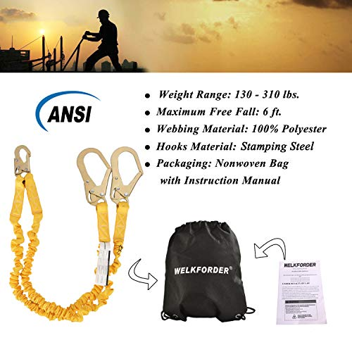 WELKFORDER Double Leg 6-Foot Fall Protection Internal Shock Absorbing Stretchable Safety Lanyard with Snap & Rebar Hook Connectors ANSI Complaint by WELKFORDER (Image #7)