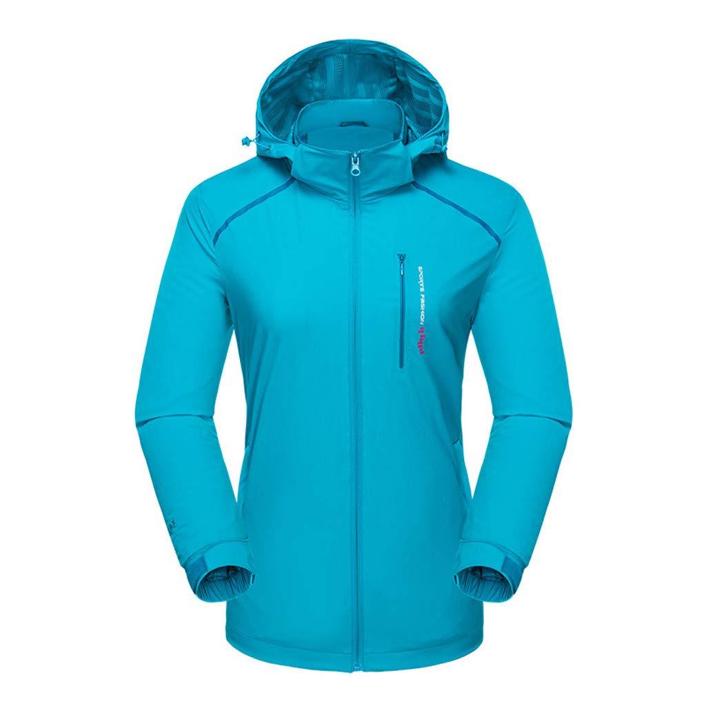 Fitfulvan Womens Lightweight Windbreaker Waterproof Breathable Sports Quick-Drying Outdoor Jacket Active Hoodies Blue