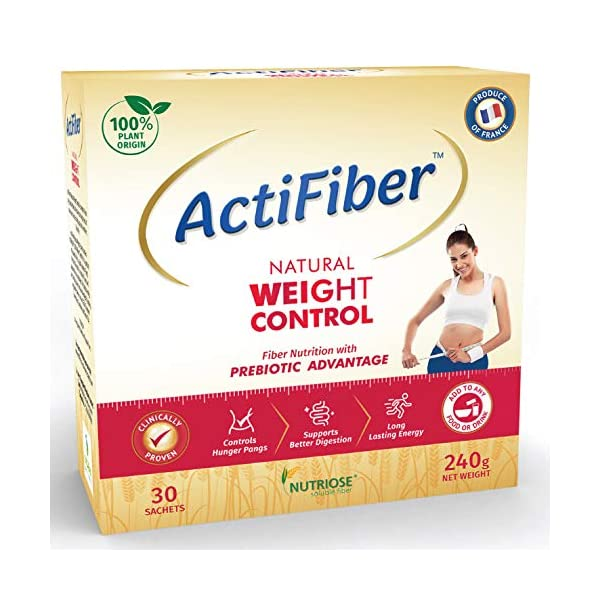 ActiFiber Natural Weight Control - Fiber Nutrition with Prebiotic | Weight Loss Product for Women | Supports Healthy… 2021 July ACTIFIBER NATURAL WEIGHT CONTROL is a Fiber Nutrition with Prebiotic Advantage. It is 100% Plant Based Dietary Fiber that helps you to get a Healthy Weight Reduction That Lasts. HEALTHY WEIGHT REDUCTION THAT LASTS : ActiFiber Natural Weight Control gives a feeling of fullness thus reducing hunger pangs, unhealthy food cravings and extra calorie intake. Over the long term it regulates your appetite & improves your digestive health, thus leading to weight reduction in a healthy and lasting way. NEEDS NO CHANGE IN FOOD HABITS: You can have ActiFiber Natural Weight Control with your normal homemade food. Just add 1 sachet to each of your 3 main meals. It dissolves easily with no taste, odour, or colour, thus fitting into your regular diet effortlessly.
