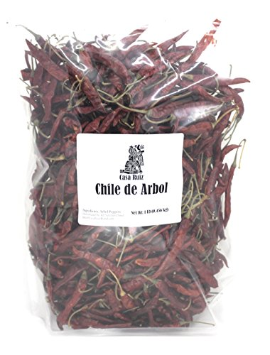 De Arbol Chile - Mexican Whole Dried Arbol Chili Peppers - 1 Lb Resealable Bag - Casa Ruiz Brand - Tannic Smoky Grassy Bold Spicy Fiery Heat - Mexican Related to Cayenne or Pequin - Pico De Pajaro - - Red Chile Chipotle