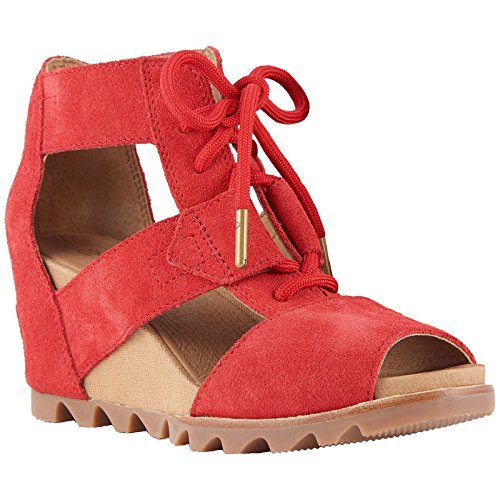 SOREL Womens Joanie Lace Wedge Sandal, Bright Red, Size 8