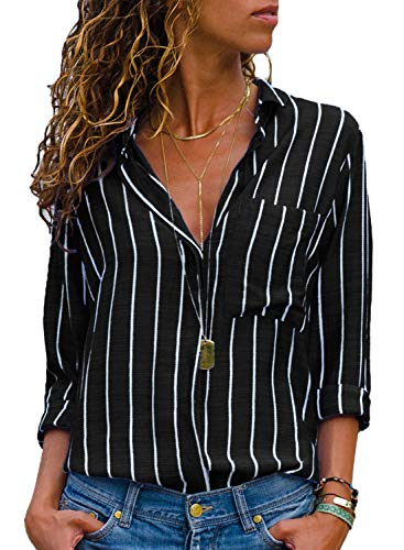 HOTAPEI Ladies Casual V Neck Striped Chiffon Blouses for Women Button up Fashion 2018 Long Sleeve Loose Fitting Tops Shirts Black and White