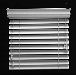 """LouverView 2"""" White Basswood Window Blinds, 59.5"""" x 74"""", Adjustable"""